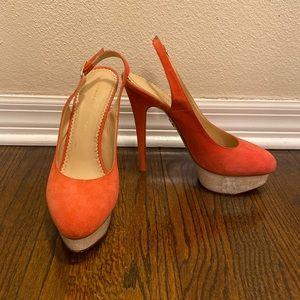 Charlotte Olympia Coral Suede Platform Heels 41